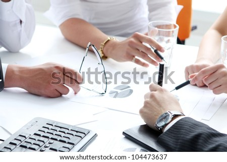 Close up of working process at business meeting