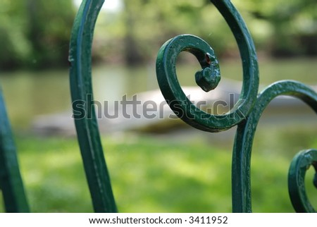 close up of wrought iron chair detail