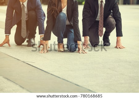 Close up of 20-30 Year Old BUSINESS Man and Women Ready to Run at Start Point. Business PEOPLE Wearing a Suit, People Running Race. Who are Ready and Better are Winners , Business and Competition  Foto stock ©