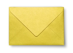 Close-up of yellow envelope on white with shadow