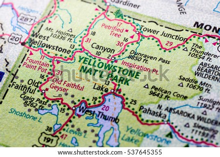 Close up of Yellowstone National Park on a map.