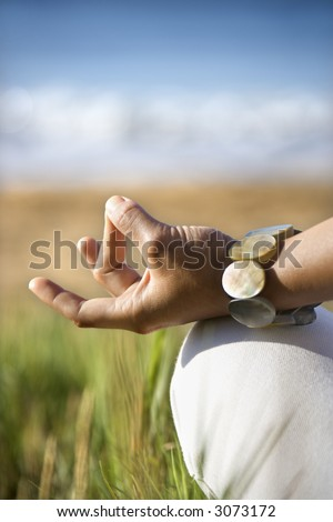 Close-up of young adult Asian female's hands in meditating position.