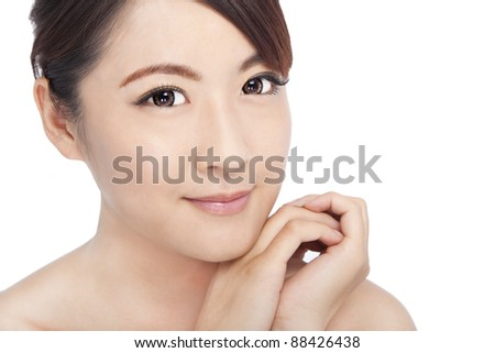 Close up  of young asian beautiful woman's face