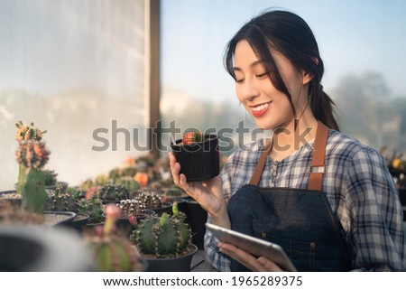 Close-up of young beautiful Asian female farmer in apron, smiling holding a little pot of cute cactus while checking quality of cactus plants with a digital tablet in a cactus greenhouse farm.