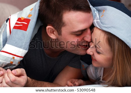 Close up of young couple in love - stock photo