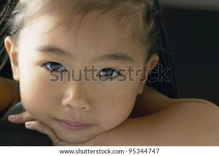 Close up of young girl's face