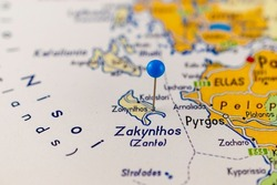 Close up of Zakynthos. Zakynthos island Greece map with blue pin - Travel concept.