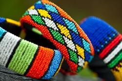 Close up of Zulu traditional jewelry bracelets