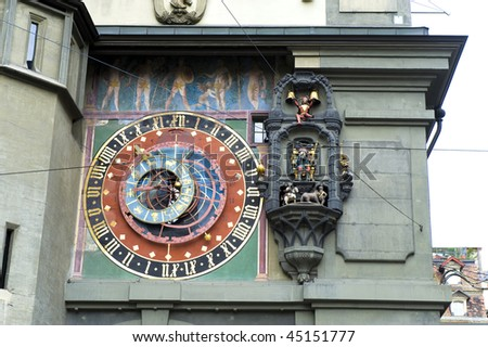 Close up of Zytglogge  which is the landmark medieval clock tower in the old city Bern, Switzerland
