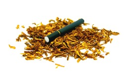 Close-up off a black cigarette with a filter repose on a pile of shredded tobacco
