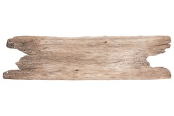 Close up old brown wooden plank isolated on white background