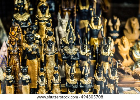 Close up Old Egyptian pharaoh Statues (Souvenirs) Stock photo ©