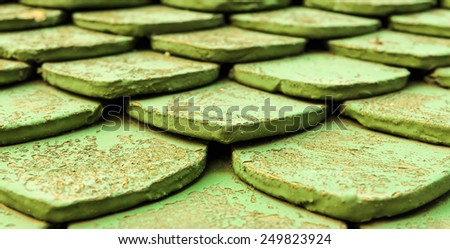 Close up Old green roof tiles