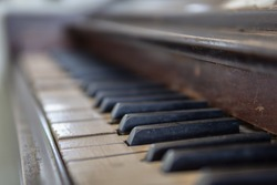 Close up old Piano key for background photo. Selective focus.