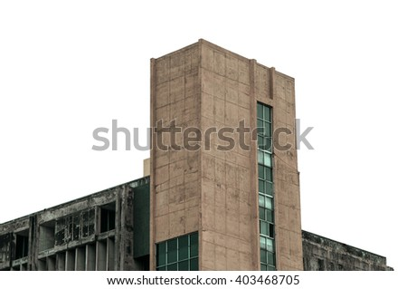 Close up old residential building apartment in the city isolate on white background