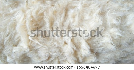 Close up old white color synthetic fur, white wool texture background, cotton wool, white fleece, light natural sheep wool, fur of  paint roller brush, top view skin and soft wool texture background. Photo stock ©