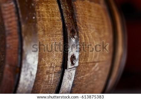 Close up old wooden barrel