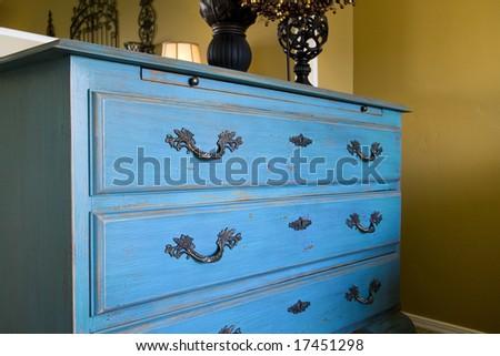 Close up on a blue dresser - stock photo