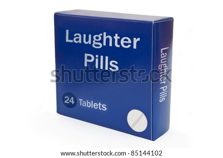 Close up on a blue medicine pack with the words 'Laughter Pills'. Arranged over white.