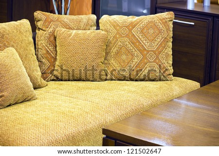 Close up on a couch in a trendy modern dining room