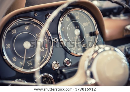 Close up on a dashboard of a vintage car #379816912