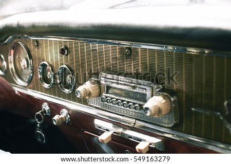 Close up on a dashboard of  vintage car