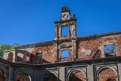 Close up on a facade of ruined palace in Tworkow, small village in Silesia region of Poland