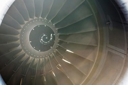 Close Up on a huge jet engine.