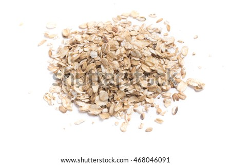 Close-up on a Oat Flakes in white background #468046091