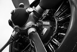 close up on a radial engine and propeller of a bi plane in black and white. The spinner and the counterweights of the propeller are visible, as well as the cylinders