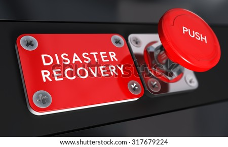 Close up on a red panic button with the text Disaster Recovery with blur effect. Concept image for illustration of DRP, business continuity and crisis communication.
