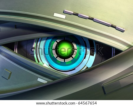 Close-up on a robotic eye. Digital illustration.