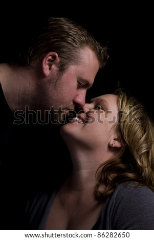 Close up on a Romantic Couple - Black Background