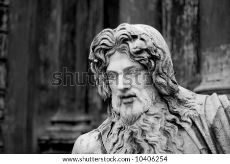 Close-up on a statue in the Vatican Museum belvedere courtyard