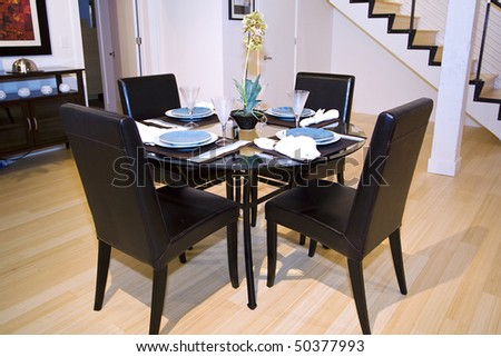 Close up on a Trendy Modern Dining Room and Dinner Table