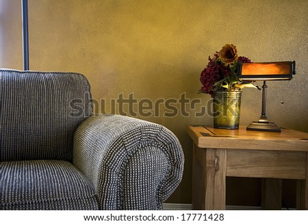 Close up on a Trendy Modern Living Room