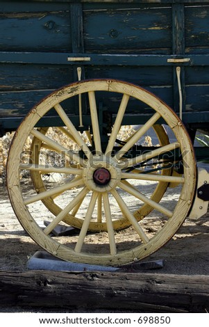 Close up on an Old Antique Wagon Wheel