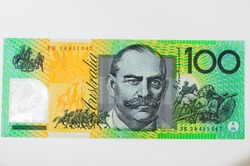 Close up on Australian dollar(AUD) banknotes