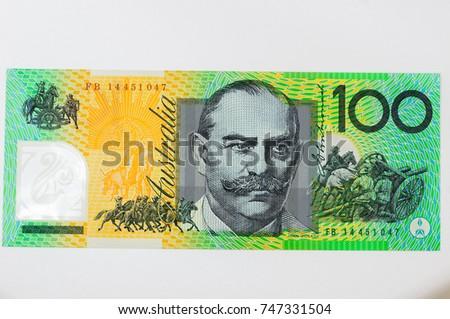 Close up on Australian dollar(AUD) banknotes