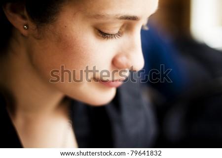 Close up on beautiful woman profile.
