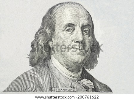 Close-up on Benjamin Franklin  Stock photo ©