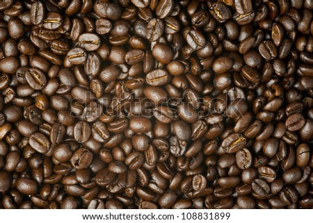 Close up on brown coffee bean background texture