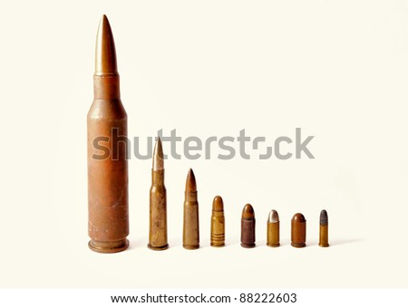Close up on bullets shown on a white background