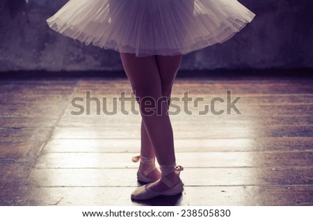 close up on classic ballet dancer. legs and tutu
