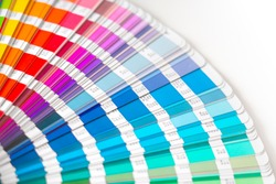 Close-up on color palette guide for printing and painting