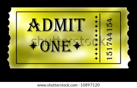 Close up on golden admit one ticket