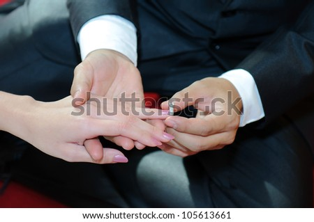 Close Up On Hand Of A Man Put On An Engagement Ring On The ...