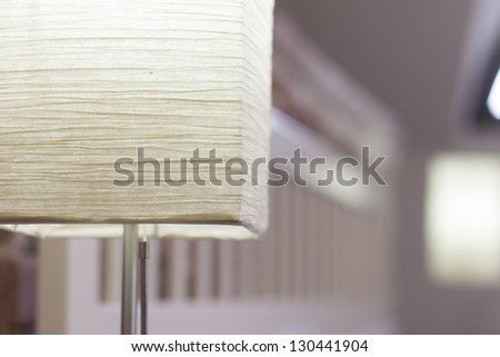 Close up on lamp in hotel room