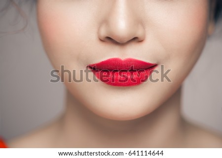 Close up on lips of attractive girl