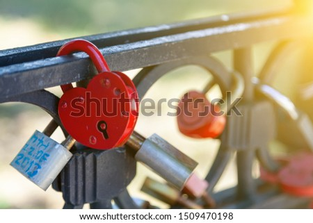 Close-up on locks of hearts in different colors and shapes hanging on the fence as a sign of eternal love, which is hung during the wedding. Culture and wedding customs.